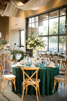 Emerald green reception table details Styled wedding shoot at Galway Downs in Temecula CA Photography by Leah Marie Photography Gold Wedding Theme, Purple Wedding, Dream Wedding, Wedding Shoot, Wedding Veils, Wedding Hair, Bridal Hair, Wedding Ideas, Quince Decorations