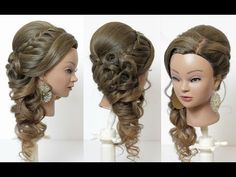 Indian bridal hairstyle for long hair, tutorial with braids and curls - YouTube