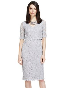 Buy the Double Layered Scallop Floral Lace Dress from Marks and Spencer's range. Floral Lace Dress, Mother Of The Bride, Dresses For Work, Glamour, Stuff To Buy, Wedding, Outfits, Shopping, Range