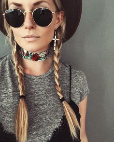 Free Spirit Style: Boho outfit, braids, neck tie, lacy cami, wide brim hat