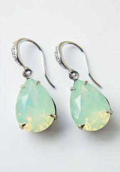 Mint Green Opal Crystal Earrings Swarovski Crystal
