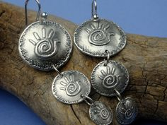 Busy hands are HAPPY hands! Fine Silver Dangles  Helping Hands  PMC Earrings by Silvermaven, $34.00