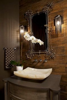 Dark Brown Powder Room Interior Design Ideas Antique Mirror