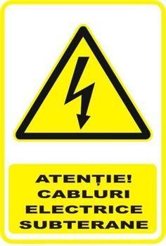 """Indicator de securitate de avertizare """"Atentie Cabluri electrice subterane"""" Atari Logo, Logos, Simple Lines, Logo"""