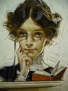 joven leyendo.  Joseph Christian Leyendecker.