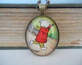 Rupert Bear necklace, vintage necklace, vintage book, vintage book page necklace, Valentine's jewellery