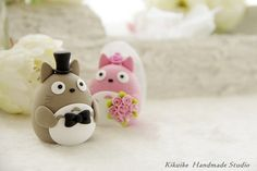 Wedding Cake Topper-love owls Totoro