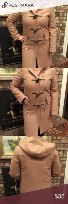 Isaac Mizrahi Hooded Camel Coat with Leopard Perfect condition! Women's Size S. Open to offers! Isaac Mizrahi Jackets & Coats