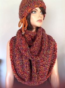 Beanie Shawl Set Hand Knit Designer Fashion Multicolor Boucle Winter Fall | eBay
