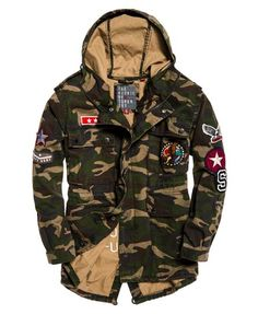 Shop Superdry Womens Rookie Oversized Parka Jacket in Camo Patched. Buy now with free delivery from the Official Superdry Store. Camo Fashion, Military Fashion, Camo Winter Jacket, Superdry Jackets, Women's Jackets, Nike Clothes Mens, Dope Outfits For Guys, Camo Men, Military Style Jackets