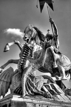 """welkinlions: """" Holy St. George fighting the Dragon Sculptor August Kiss, 1853. Bronze statue The statue originally stood in the courtyard of the Berlin Palace and has now found its place in the middle of the Spree Nikolaiviertel. """""""