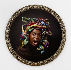 Available for sale from James Cohan, Yinka Shonibare CBE, Medusa West Digital chromogenic print, bespoke wood frame, 44 in diameter Pablo Picasso, Kiki Smith, Saatchi Gallery, Fashion Painting, International Artist, Rodin, Medusa, Michelangelo, African Art