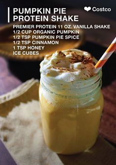 PUMPKIN PIE SMOOTHIE, 1 Premier Protein® Vanilla Shake cup of organic pumpkin teaspoon of pumpkin spice teaspoon of cinnamon 1 teaspoon of honey 1 cup of ice DIRECTIONS: Blend until smooth and enjoy! Protein Snacks, Pancakes Protein, Protein Shake Recipes, Smoothie Recipes, Premier Protein Shakes, Pumpkin Pie Smoothie, Pumpkin Protein Shake, Healthy Shakes, Bariatric Recipes