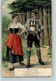 Alpenliebe - Frau mit Rechen und Mann mit Lederhose
