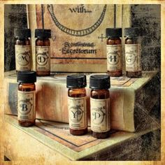 You will receive 12, amber glass vial drams packaged in a paper mache, alchemy-styled, keepsake box.  Each box contains one of each character's fragrant elixir inspired by the All Souls Trilogy (A Discovery of Witches