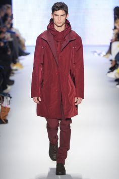 A burgundy and oxblood colour combination created some chic tonal activewear at Lacoste.