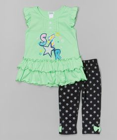 This Apple 'Star' Ruffle Top & Leggings - Toddler & Girls by Littoe Potatoes is perfect! #zulilyfinds