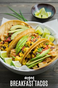 Vegan Breakfast Tacos are filled with seasoned tofu scramble and crispy potatoes, then topped with salsa, avocado slices, and fresh green onions. It all comes together in a corn tortilla for the most irresistible breakfast taco you'll ever wake up to! Breakfast Tacos, Vegetarian Breakfast, Vegan Breakfast Recipes, Breakfast Potatoes, Eat Breakfast, Breakfast Ideas, Tofu Tacos, Tacos Végétaliens, Delicious Vegan Recipes