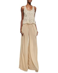 Embellished Double-Layer Tank Top & Easy Full-Leg Pants by Donna Karan at Bergdorf Goodman.