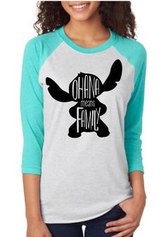 """Thank you for stopping by our shop! We are excited to have you here! Disney Addicts this top is for you!! My """"Ohana means family"""" Raglan is perfect for your Disney trip or if you are just dreaming of"""
