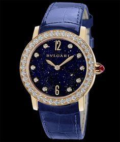 Bulgari Bulgari-Bulgari, 18 karat rose gold with diamond bezel. Aventurine dial with diamons indexes. Available at Cellini Jewelers NYC