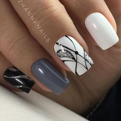 Discover the 10 most popular nail polish colors of all time! - My Nails White Manicure, Manicure E Pedicure, White Shellac, Gray Nails, Pink Nails, Black Nail Designs, Nail Art Designs, Nails Design, Black And White Nail Art