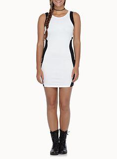 Black and white total zip bodycon dress   Simons
