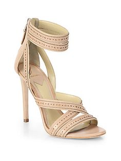 B Brian Atwood Lucila Ankle-Strap Leather Sandals