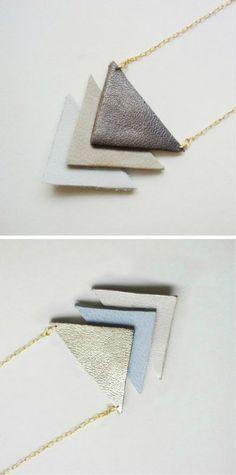 DIY Leather Necklace - minimal geometric jewellery making idea
