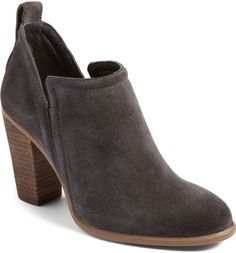 Vince Camuto Francia Bootie | Love the heel and gray color. Wish it cam in a dark brown, as my brown suede boots are about worn out.
