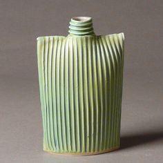 by Sara of Tjossem   Porcelain ribbed oval flask bottle vase in blue green