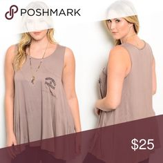 "Plus Size Sleeveless Taupe Relaxed Long Tank Top New with tags. Plus size taupe tank featuring a relaxed fit and small bust pocket with ""Happiness Is Expensive"" printed on it.                            95% rayon, 5% spandex.                                           Made in USA.                                                                 PRICE IS FIRM UNLESS BUNDLED.                         ❌SORRY, NO TRADES. Boutique Tops Tank Tops"