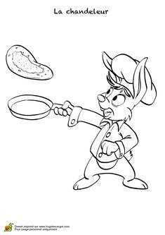 Image à colorier d'un lapin qui prépare une crêpe pour la fête de la chandeleur.