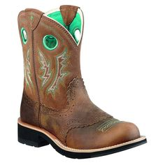 Ariat Ladies Brown/Green FatBaby Western Boots
