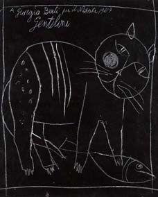 "Franco Gentilini (Italian, 1909–1981) - ""Gatto"" (Cat), 1957 - Pastel on card"
