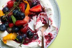 A delicious light dessert or brunch using fresh berries and homemade labneh. Recipe from Ottolenghi Flavour. Light Desserts, Create A Recipe, Ottolenghi, Orange Oil, What's Cooking, What To Cook, Meals For The Week, Healthy Desserts, A Food