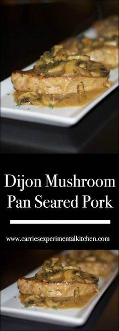 Boneless center cut pork chops pan seared on top of the stove with fresh, white mushrooms in a light Dijon mustard sauce. via cut pork chop recipe Dijon Mushroom Pan Seared Pork Dijon Mustard Sauce, Mustard Pork Chops, Mustard Recipe, Center Cut Pork Chops, Barbecue Pork Ribs, Mushroom Pork Chops, Boneless Pork Chops, Best Meat, Chops Recipe