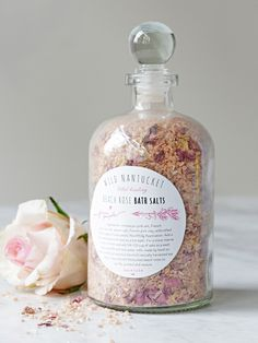 Vital Herbal Bath Salts | Handmade in Nantucket, Massachusetts, this vital healing bath salt is a luxurious blend of naturally harvested sea salts, clay and wild Nantucket beach roses. Crafted to purify, protect and restore the skin.