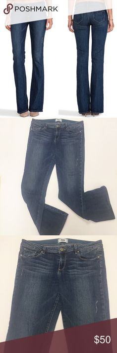 """Paige Denim Skyline Mid Rise Bootcut Jeans Paige Denim Skyline Mid Rise Bootcut Augusta Wash Jeans. Made in the USA. Classic Bootcut jeans cut slimy through the hips and thighs before flaring at the knees for a flattering silhouette. Approximate measurements laying flat: rise 9"""", inseam 32"""". 👗👛👠👙👕Bundle & Save! Paige Jeans Jeans Boot Cut"""