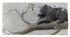 Black bear art tile, Summer Shade, sculpted 4x8 inch ceramic tile by MedicineBluffStudio on Etsy
