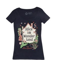 Alice im Wunderland women's t-shirt – Out of Print ($20) via Polyvore featuring tops, t-shirts, pattern tops, t shirts, print shirts, print t shirts and pattern t shirt