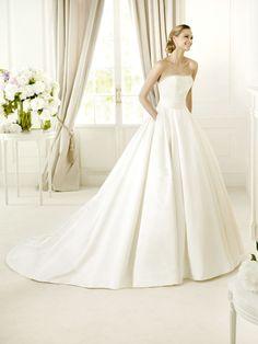 Its got freaking pockets!!!! Dramatic Princess Strapless Chapel Train Satin Wedding dRess with Beading