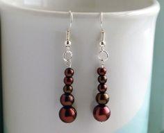 Rich mahogany brown faux pearl drop earrings by FfigysDesigns, £4.25