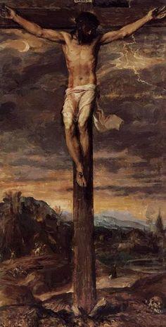 Huge art Oil painting Tiziano Vecellio - Jesus Christ Crucifixion on the cross God and Jesus Christ Catholic Art, Religious Art, Renaissance Kunst, Image Jesus, Jesus Painting, Crucifixion Painting, Jesus Crucifixion, Jesus Christus, The Cross Of Christ