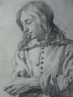 Karel Dujardin. Estudio de joven con pelo largo