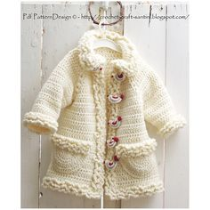 Ravelry: Winter White Sophie Coat with Bird-Buttons, for Toddler girls and Kids. Crochet pattern by Ingunn Santini