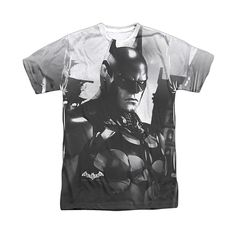 Batman White Batman Arkham Knight Contrast Tee (€16) ❤ liked on Polyvore featuring tops, t-shirts, crew neck tee, white crew neck t shirt, white tee, polyester t shirts and white top