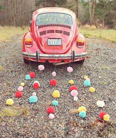 24 colors Yarn Wool Balls, Wedding Decoration, Party decoration, Garland, Wedding Car Decor, Set of 12 (4.5cm)