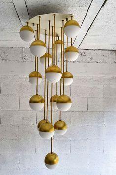 // 1965 Brass & Glass Chandelier By Stilnovo