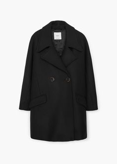 Manteau laine revers - Femme | MANGO